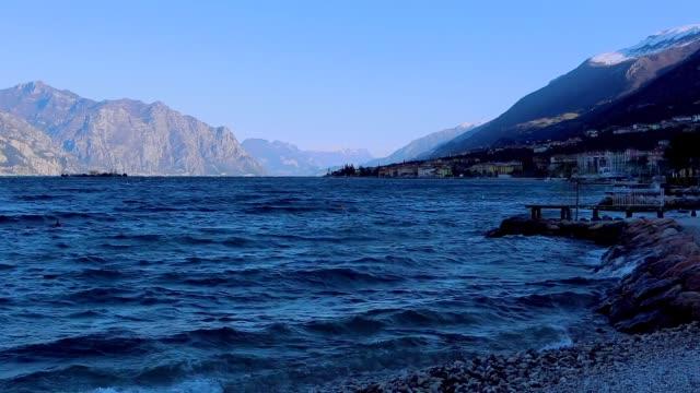 Garda lake on a sunny windy day.