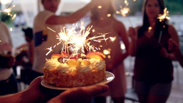 garten-geburtstags-party - geburtstagstorte stock-videos und b-roll-filmmaterial