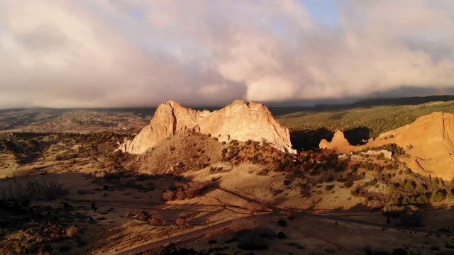 Garden of the Gods in Colorado Springs on a beautiful morning, wide pan 4K drone footage