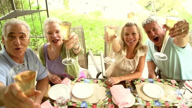 SLOW MOTION - Garden Party Mature Couples. video