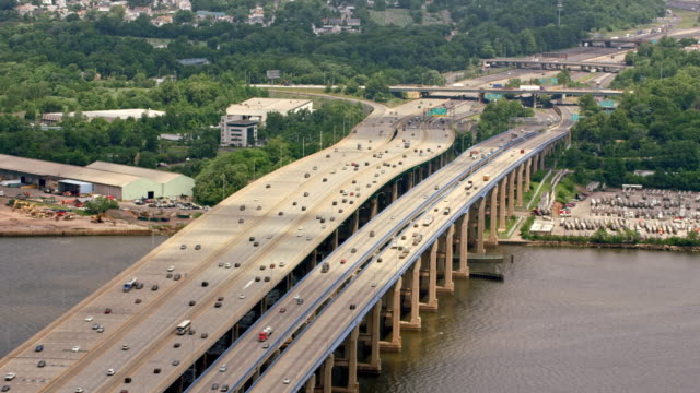 AERIAL Garden State Parkway road crossing the Raritan River