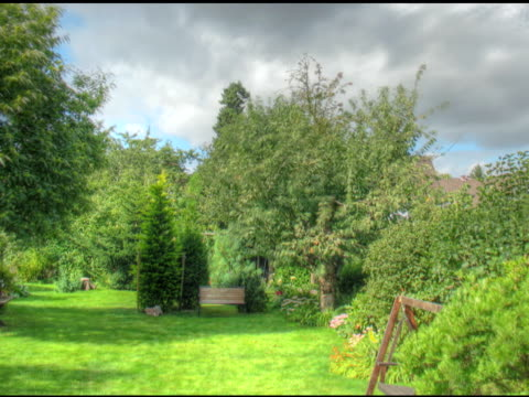 NTSC:(Loopable) Garden Timelapse of a deep green garden. ornamental garden stock videos & royalty-free footage