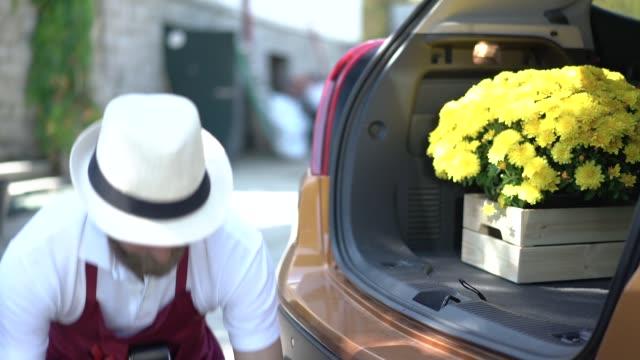 Gardener loading flowering plants in car trunk