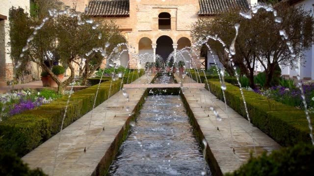 Gardens of the Generalife in Alhambra.  Granada, Spain video