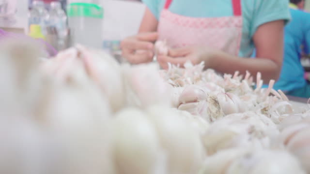 garlic vegetable raw fresh material - white background стоковые видео и кадры b-roll