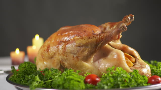Garnished roasted Thanksgiving turkey steaming on tray video