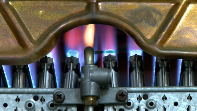 Gas boiler heater burning