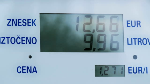 Gas costs rising for consumers at pumps.Rising prices on station pump screen,Electronic display for diesel gas, petrol at pump oil changing, price and a gallons counter video