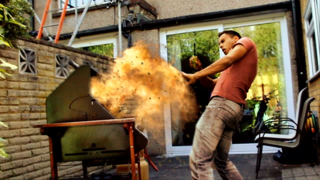 stockvideo's en b-roll-footage met gas explosion. barbecue season fire safety danger warning - gas