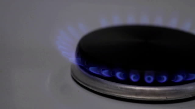 Gas fire burns gas stove in the kitchen video