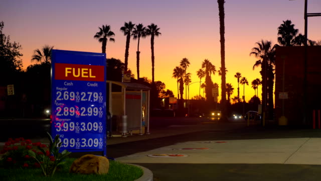 Gas station in California in 4K video