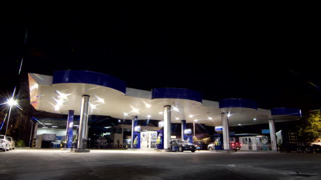 gas station service night scene time lapse