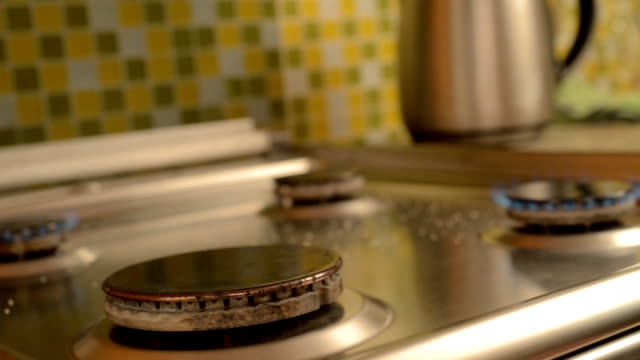 Gas stove in home. video