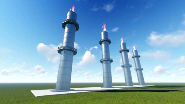 Gas Turbine Power Plant and Time Lapse Clouds video