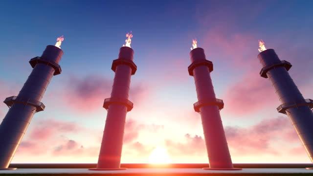 Gas Turbine Power Plant at Sunset video