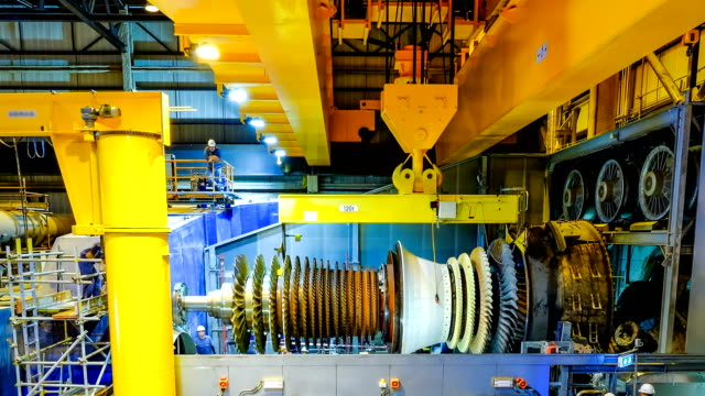 Gas turbine rotor installation in combine cycle powerplant Gas turbine rotor installation in combine cycle powerplant in asia turbine stock videos & royalty-free footage
