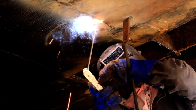 HD: Gas welding Man works with the welding device metal worker stock videos & royalty-free footage