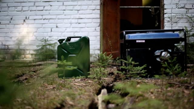 Gasoline generator for filming. HD shot with slider