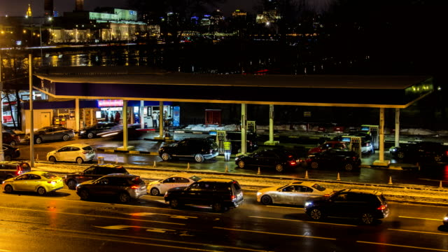 Gasoline refueling station, time lapse video