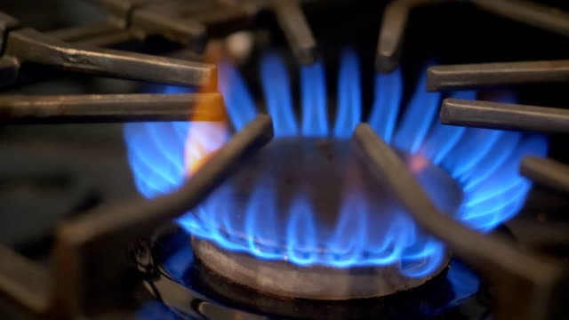 Gas-Ring Stove With Blue Flame in Slow Motion 180fps video