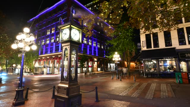 Gastown Steam Clock,Vancouver,Canada Time lapse wide shot of the Stream Clock the hour in Vancouver's historic Gastown district , Gastown Steam Clock built by Saunders in 1977 vancouver canada stock videos & royalty-free footage