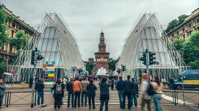 EXPO Gate at Sforza castle, Milan Italy video