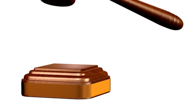 Gavel pounded on block video