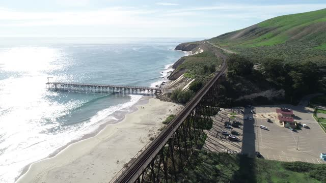 Gaviota Beach Pier and Trestle Bridge  Point Conception California Drone View