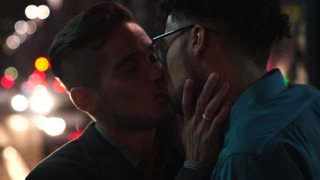 Gay Boys kissing after work at night Love is in the air gay man stock videos & royalty-free footage