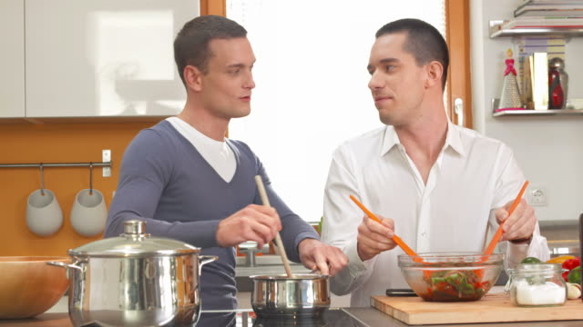 HD DOLLY: Gay Couple Cooking Together video