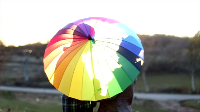 Gay couple kissing behind an multicolors umbrella video