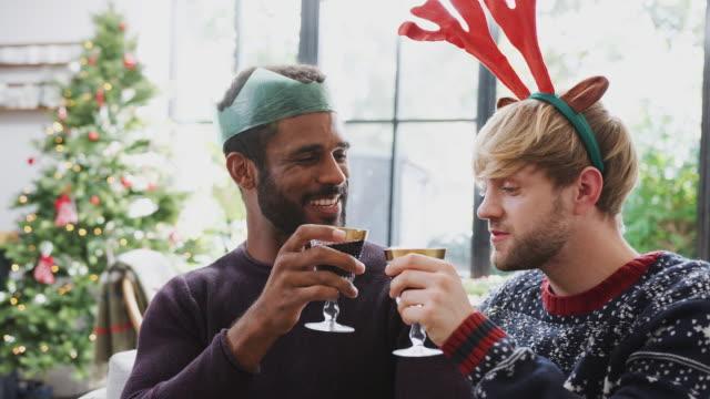 coppia gay maschile seduta intorno al tavolo per la cena di natale facendo toast - pranzo di natale video stock e b–roll
