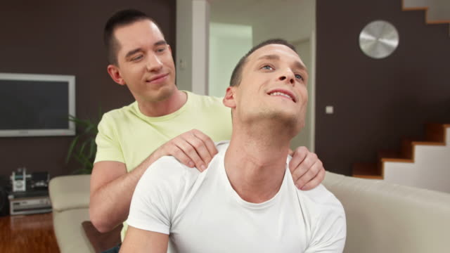 HD: Gay Man Enjoying Shoulder Massage