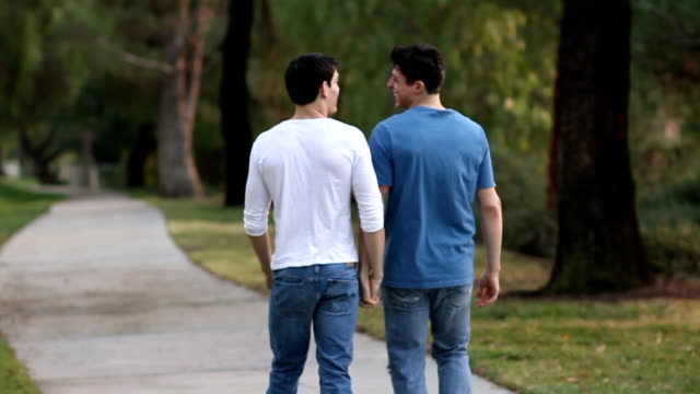 gay men walk on path away from camera cu - same sex couples stock videos and b-roll footage