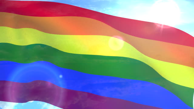 wesoła duma flaga, machający lgbt, biseksualna lub transpłciowa - miesiąc filmów i materiałów b-roll