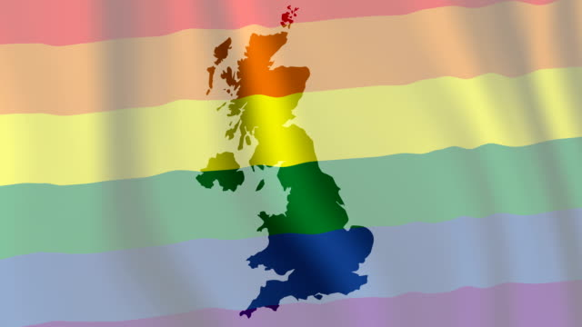Gay Pride Flag with UK Map video