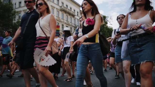 Gay pride parade - time lapse video of LGBT and their supporters on rally Gay pride parade in Budapest, Hungary pride stock videos & royalty-free footage
