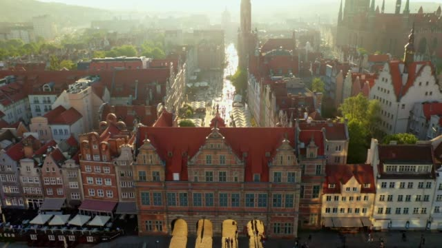 Gdansk, aerial view of the Long street Drone shot. Sunset. View from the entrance to the old city gdansk stock videos & royalty-free footage