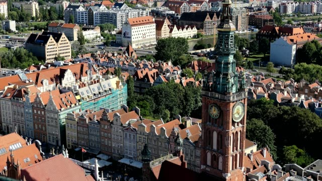 Gdansk Old Town Houses Churches Skyline Aerial, Poland video