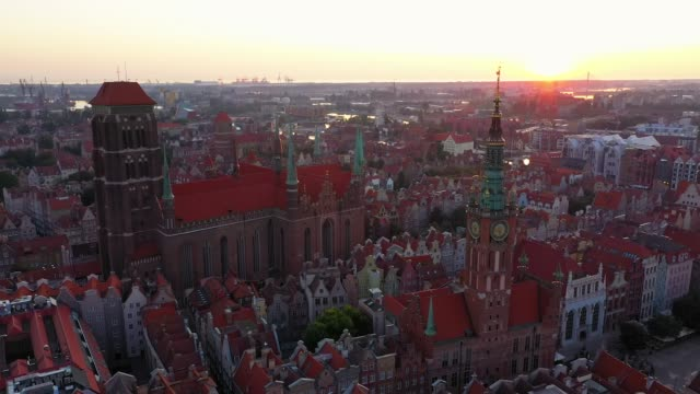 Gdansk, Poland. Aerial 4K reveal video of old city, Motlawa river and famous monuments: Gothic St Mary church, city hall tower, the oldest medieval port crane (Zuraw) and old houses Gdansk, Poland. Aerial 4K reveal video of old city, Motlawa river and famous monuments: Gothic St Mary church, city hall tower, the oldest medieval port crane (Zuraw) and old houses gdansk stock videos & royalty-free footage
