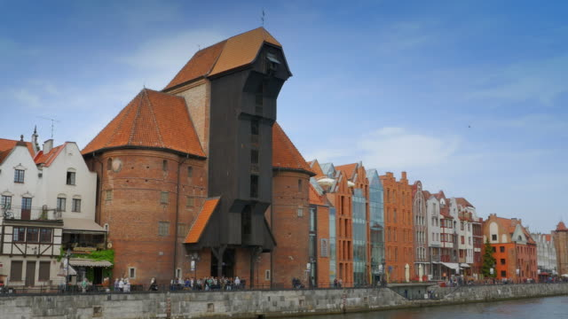 Gdansk Poland Medieval Crane, Wooden Building, Riverside City Port Gdansk Poland Medieval Crane, Wooden Building, Riverside City Port gdansk stock videos & royalty-free footage