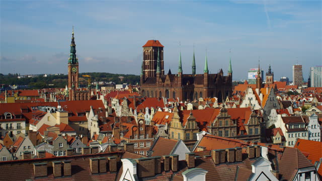 Gdańsk city drone view. Old town with historic tenement houses