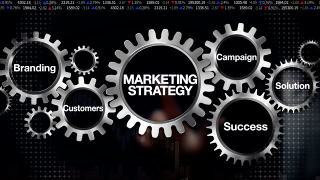 Gear Branding, Solution,Customers, Campaign, Success. Businessman touch 'Marketing Strategy'