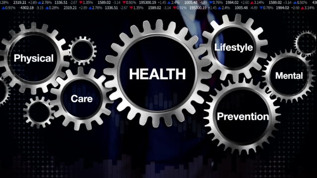 Gear, Care, Lifestyle, Prevention, Physical, Mental, Businessman touching screen 'HEALTH' video