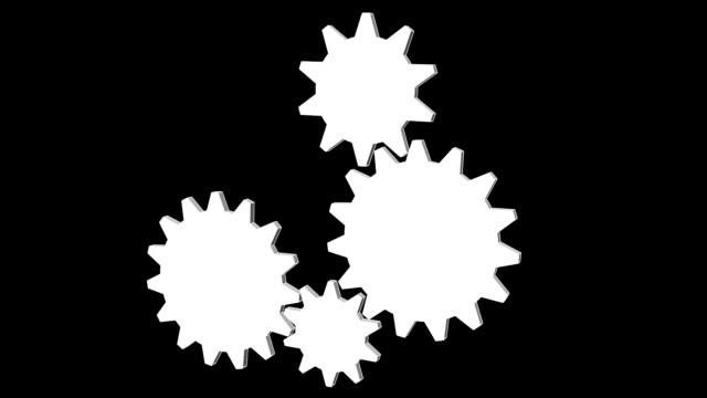 Gear - Cogwheel, rotating machine. Black and white video