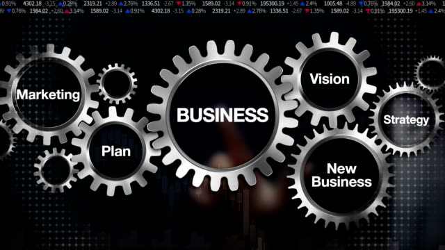 gear plan, marketing, vision, strategy, new business, businessman touch 'business' - business symbols stock videos & royalty-free footage