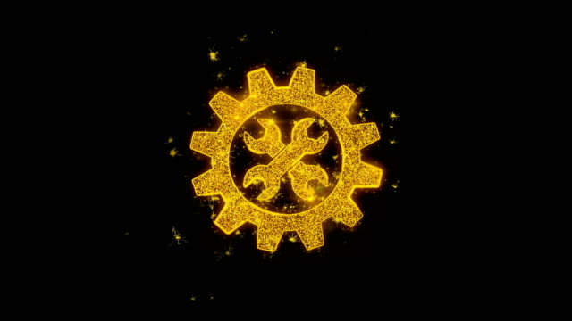 Gear service Icon Sparks Particles on Black Background.