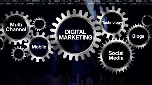 Gear, Technology, Blogs, media, channel, Mobile, Businessman touching 'DIGITAL MARKETING' video