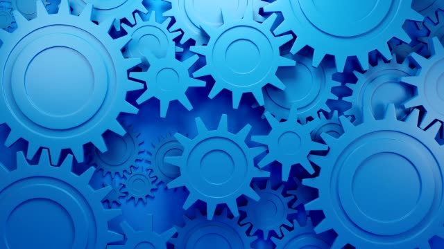 Gear wheels, industrial rotating parts of engine. Abstract 3D loop animation.