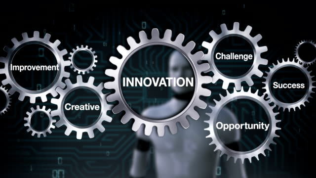 gear with challenge, opportunity, creative, improvement, success, robot touching 'innovation' - business symbols stock videos & royalty-free footage